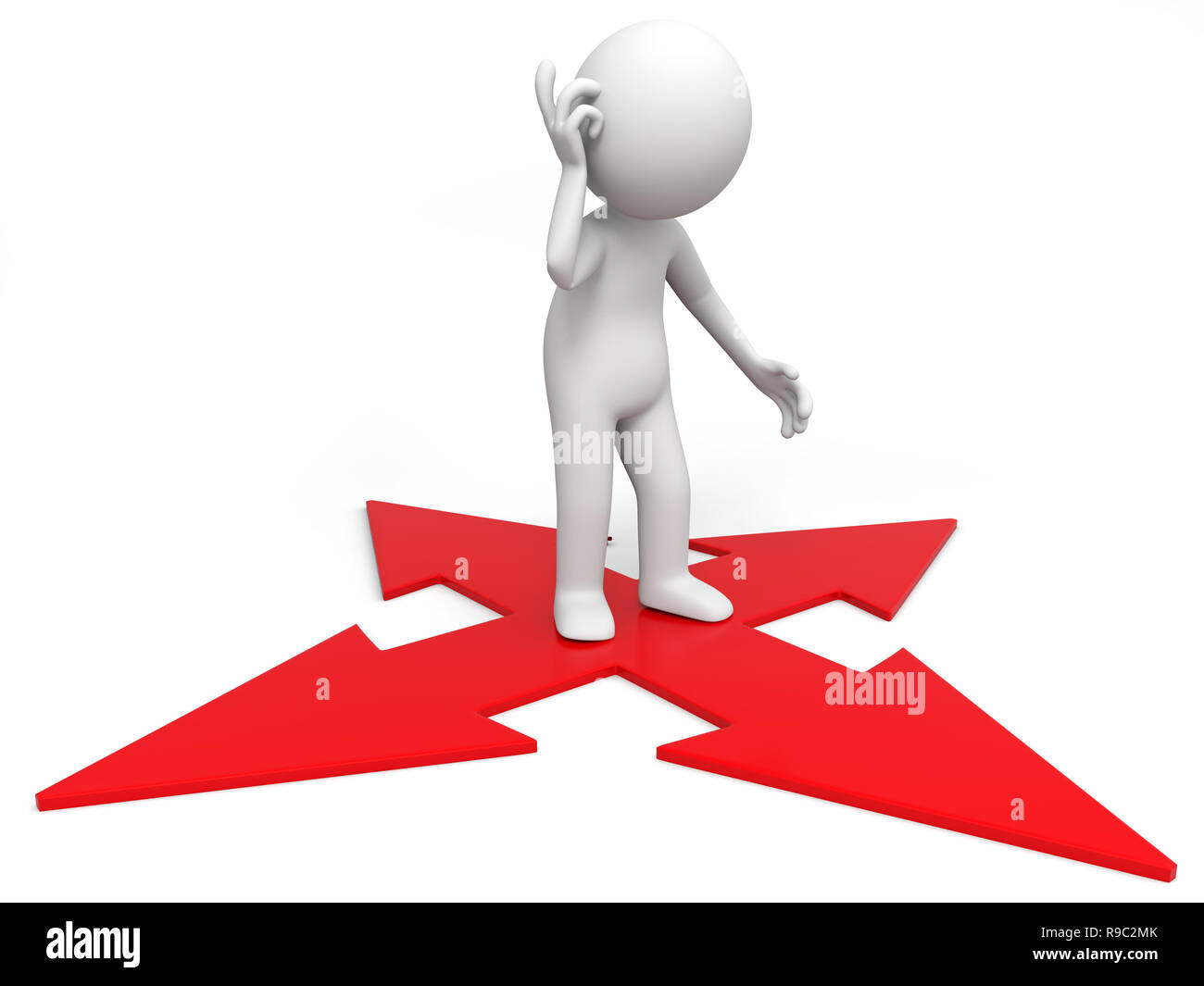 A 3d people is standing in the arrow above - Stock Image