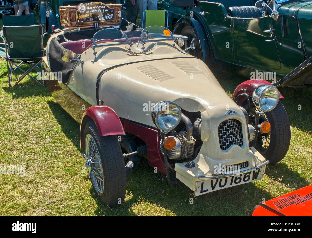 Lomax open top roadster reg.no LVU 166W on display at Old Gaffers Festival, Yarmouth, Isle of Wight - Stock Image