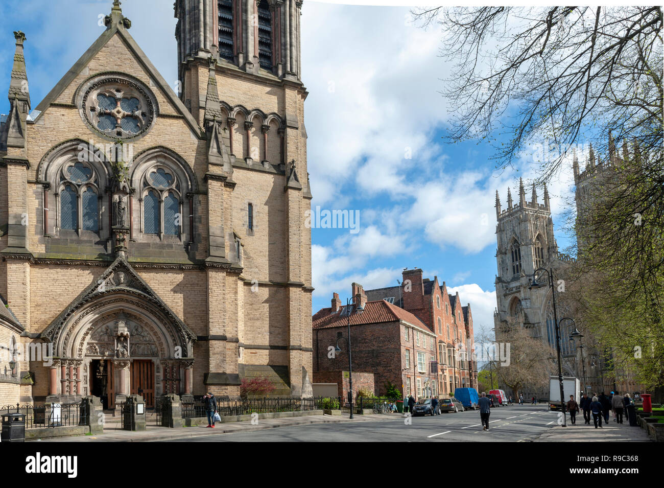 Historic building built in Gothic Revival style of Catholic Church of St Wilfrid aka Mother Church of the city of York, England, UK - Stock Image