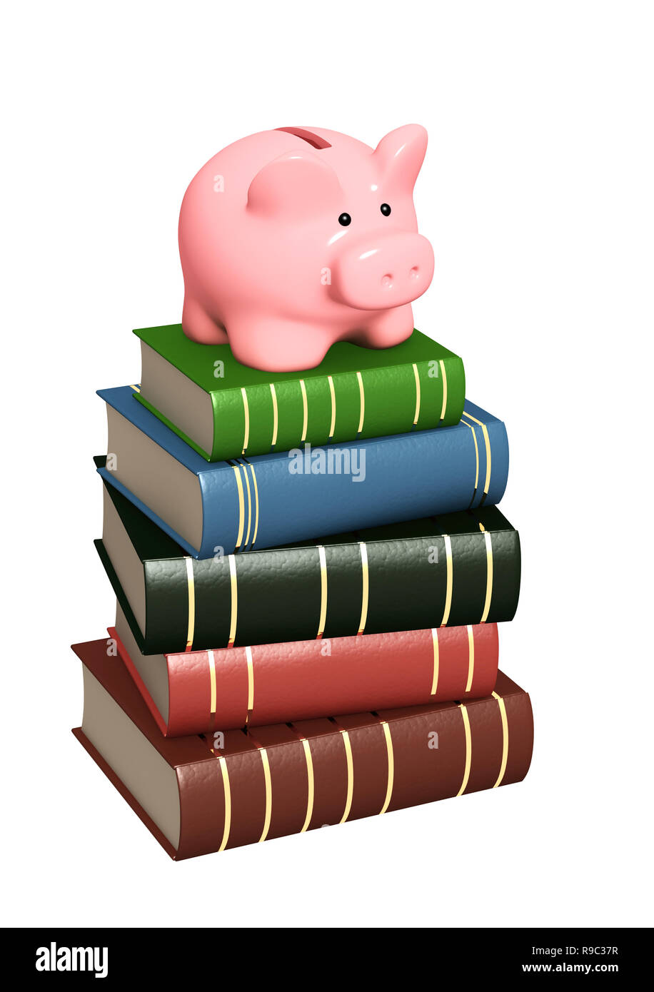 Piggy bank and books. Objects isolated over white - Stock Image