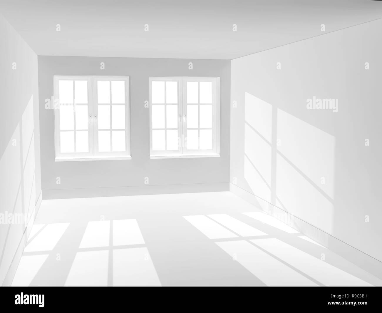 Empty room of white color - Stock Image