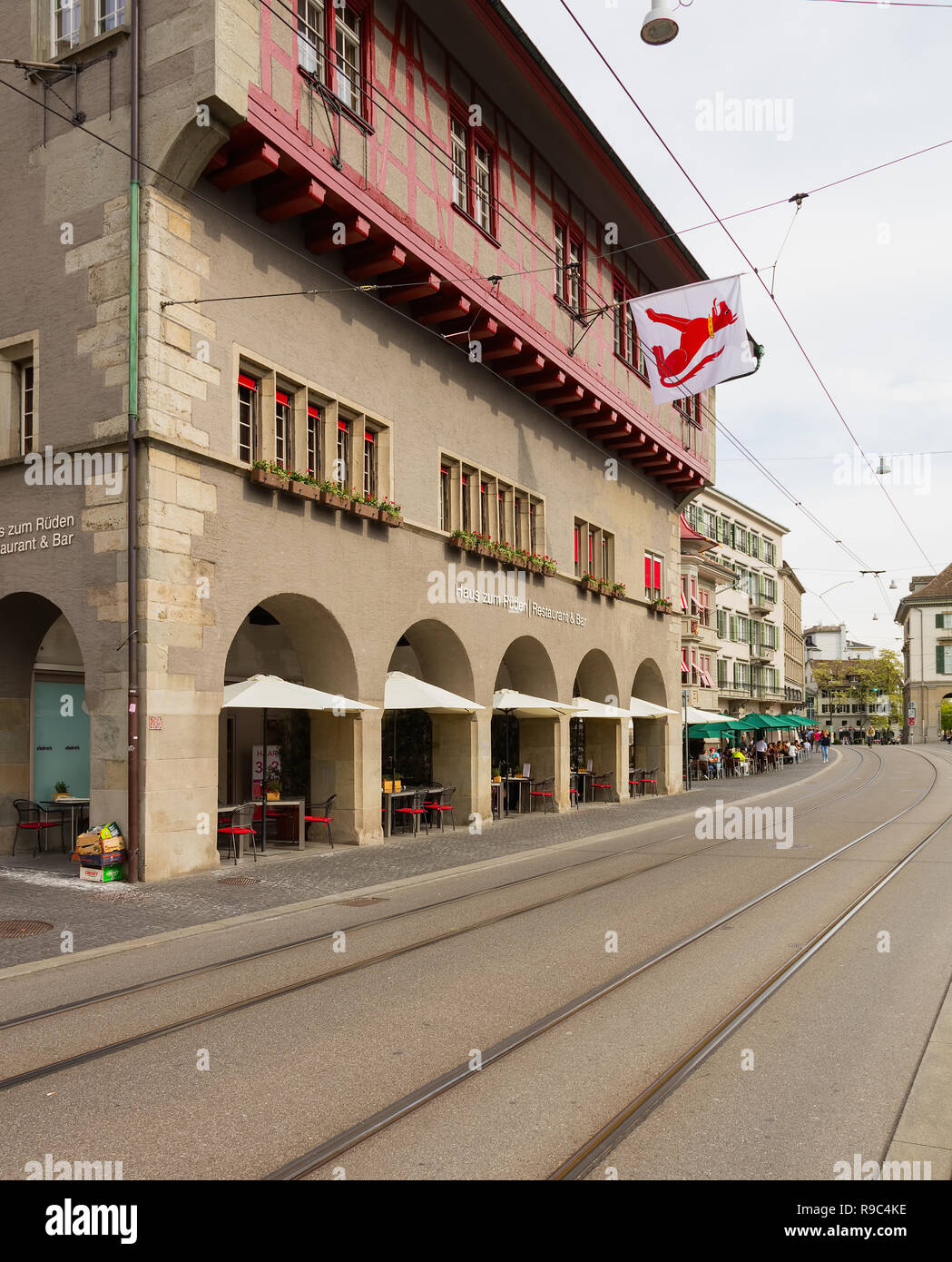 Zurich, Switzerland - May 25, 2016: view along Limmatquai quay in the city of Zurich. Zurich is the largest city in Switzerland and the capital of the - Stock Image