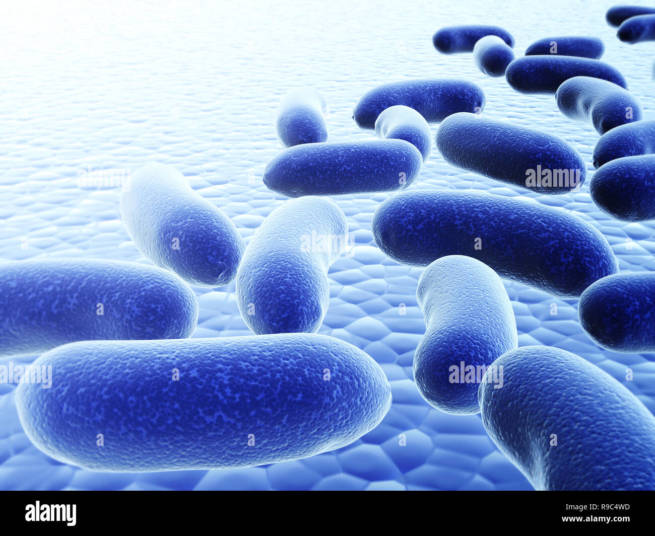 Colony of pathogenic viruses. On blurred background of blue color. 3d render - Stock Image
