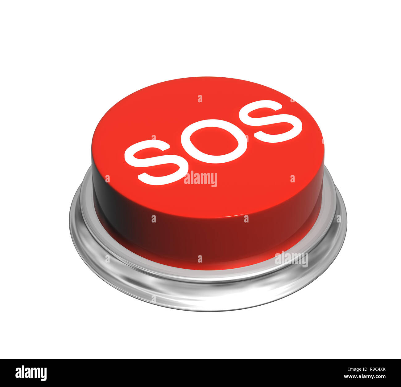 Button of red color with inscripation SOS. Object isolated on white background. 3d render Stock Photo