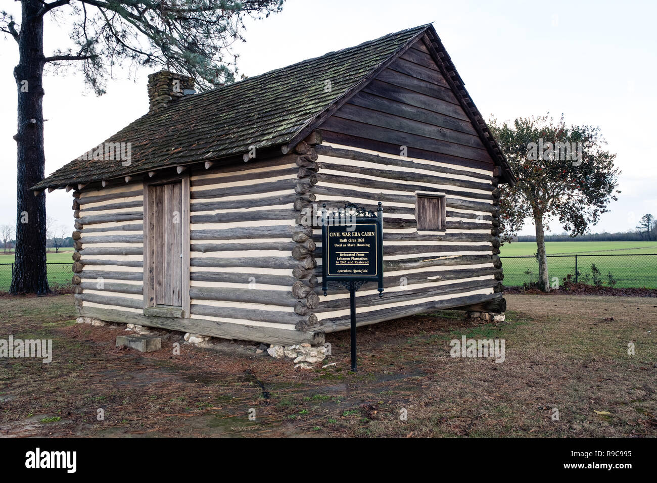 Civil War Era Slave Cabin at Averasboro Battle Field, NC-Circa 2018: Civil War Battlefield and Monuments Stock Photo
