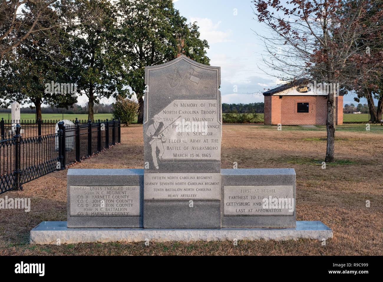Averasboro Battle Field, NC-Circa 2018: Civil War Battlefield and Monuments Stock Photo