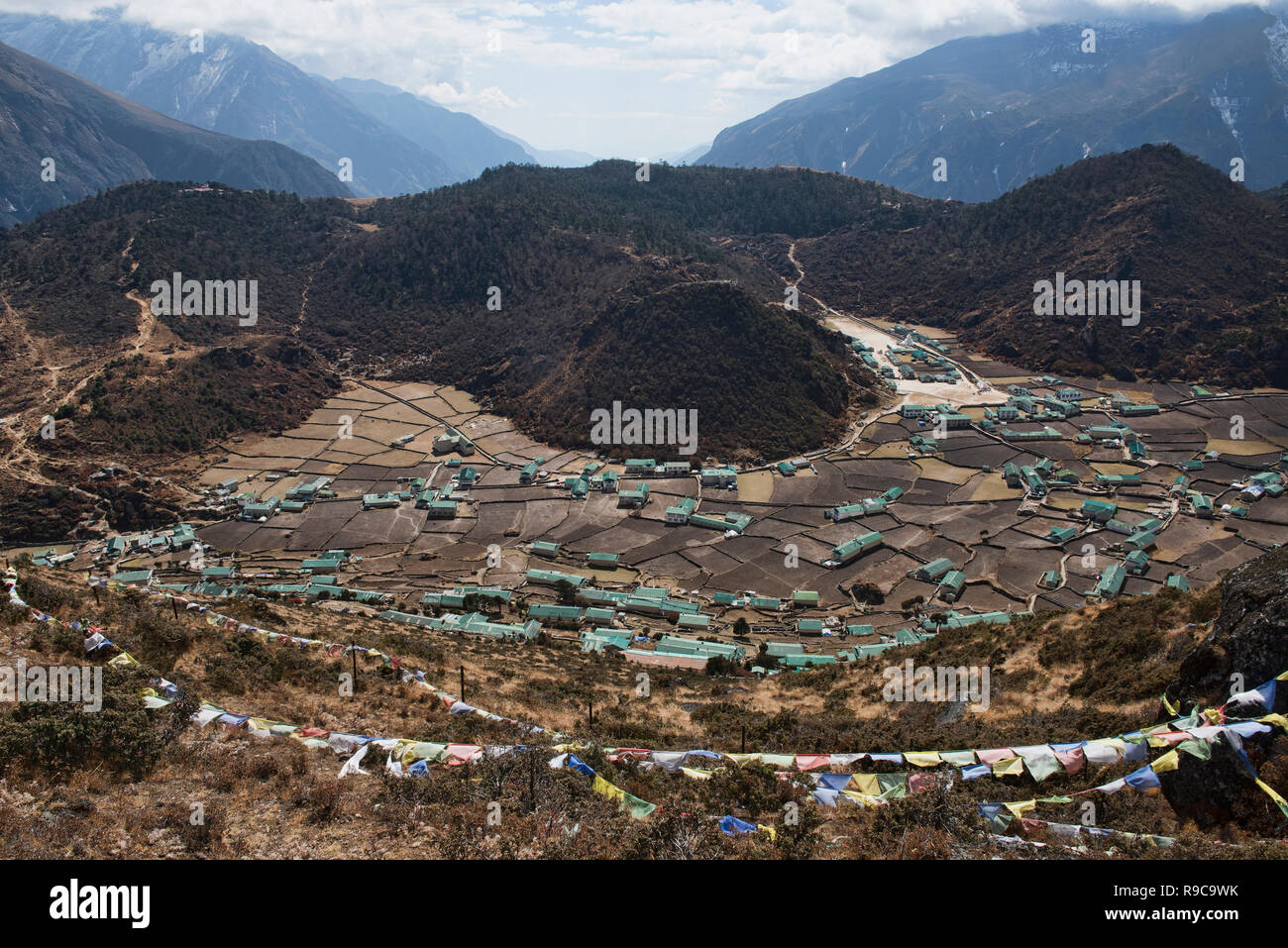 The Sherpa village of Khumjung, Everest region, Khumbu, Nepal - Stock Image