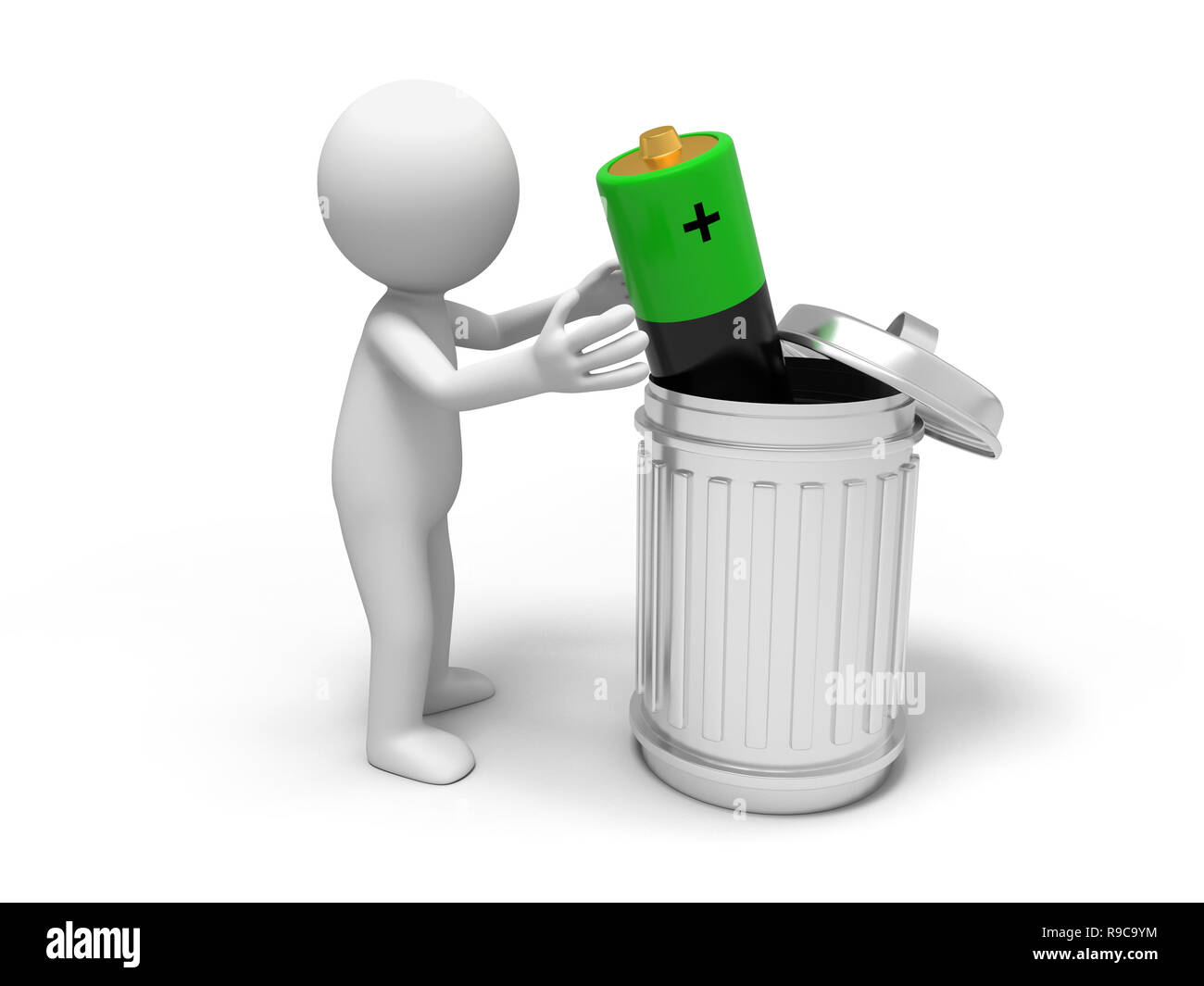 Battery and trash can - Stock Image