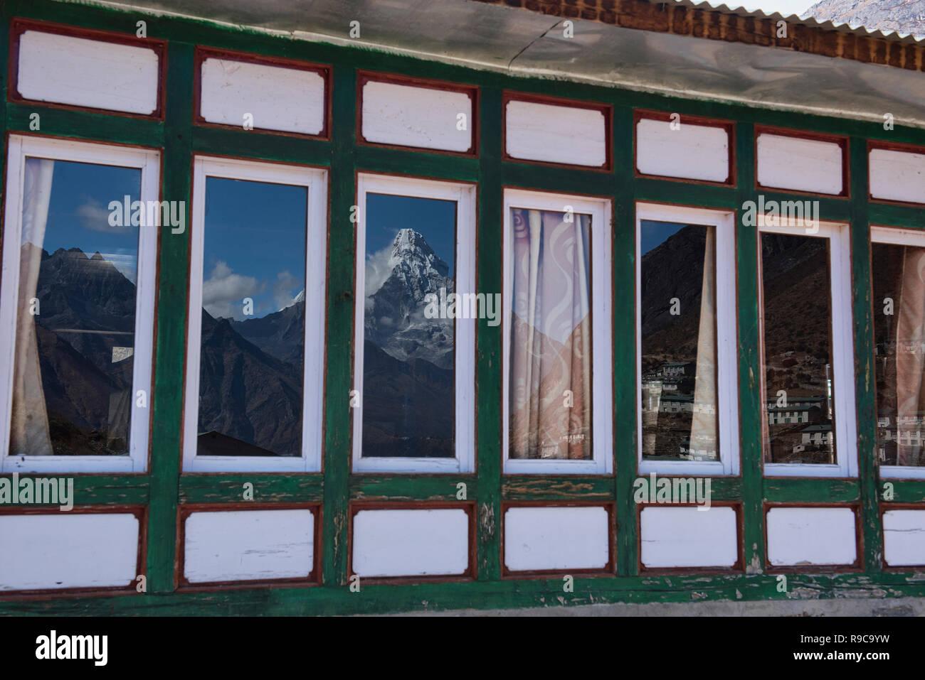 Ama Dablam reflection, Khumjung, Everest region, Khumbu, Nepal - Stock Image