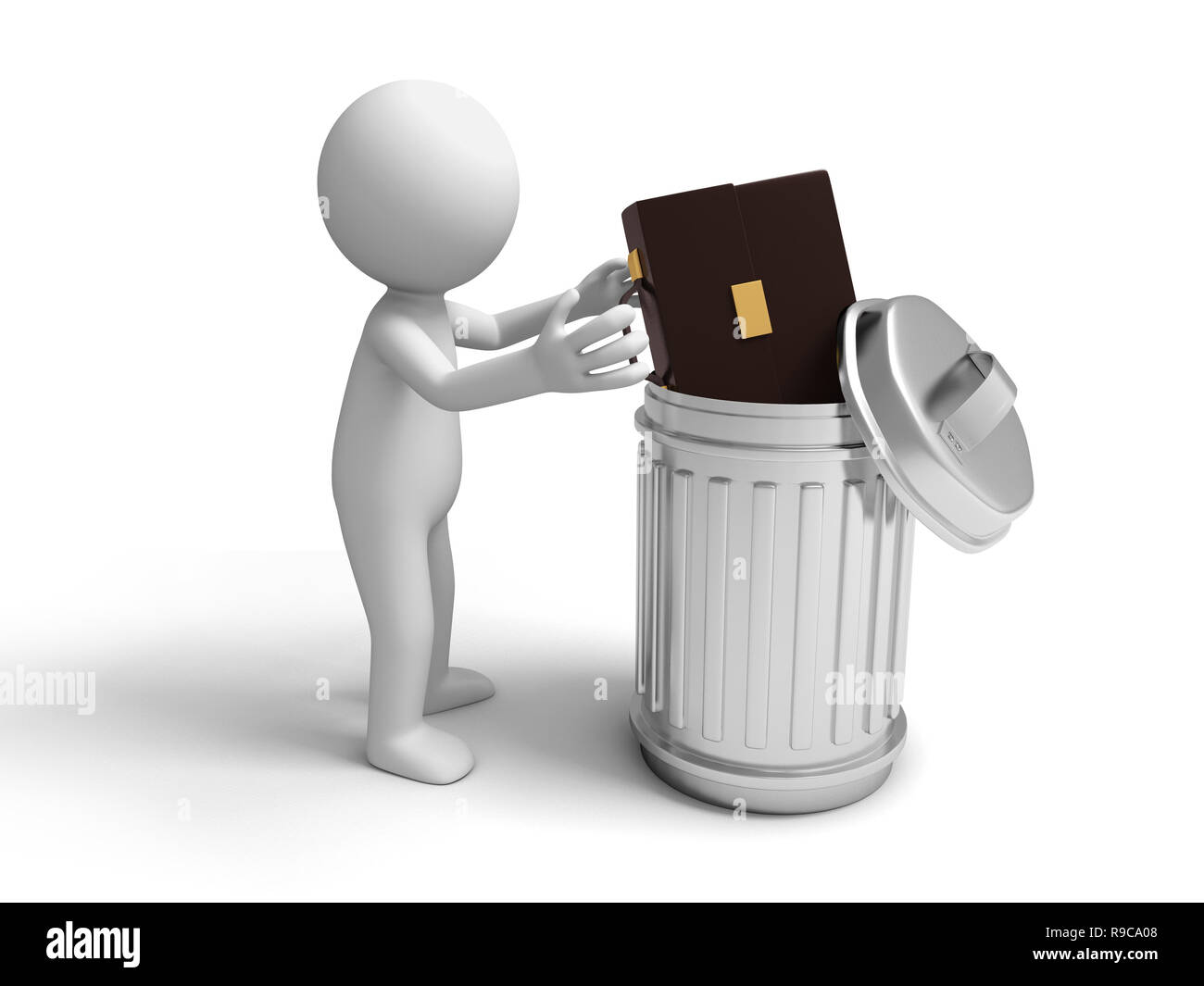 Briefcase and trash can - Stock Image