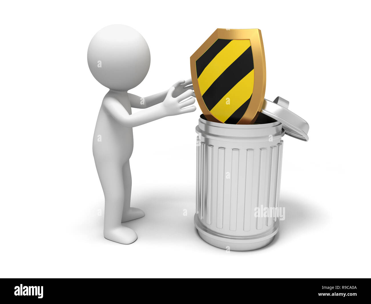 shield and trash can - Stock Image