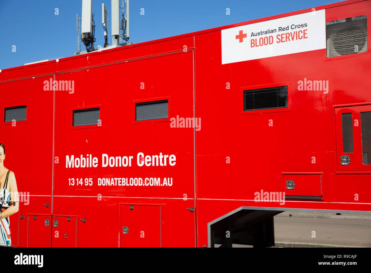 Australian red cross mobile blood donor centre in Sydney,Australia - Stock Image