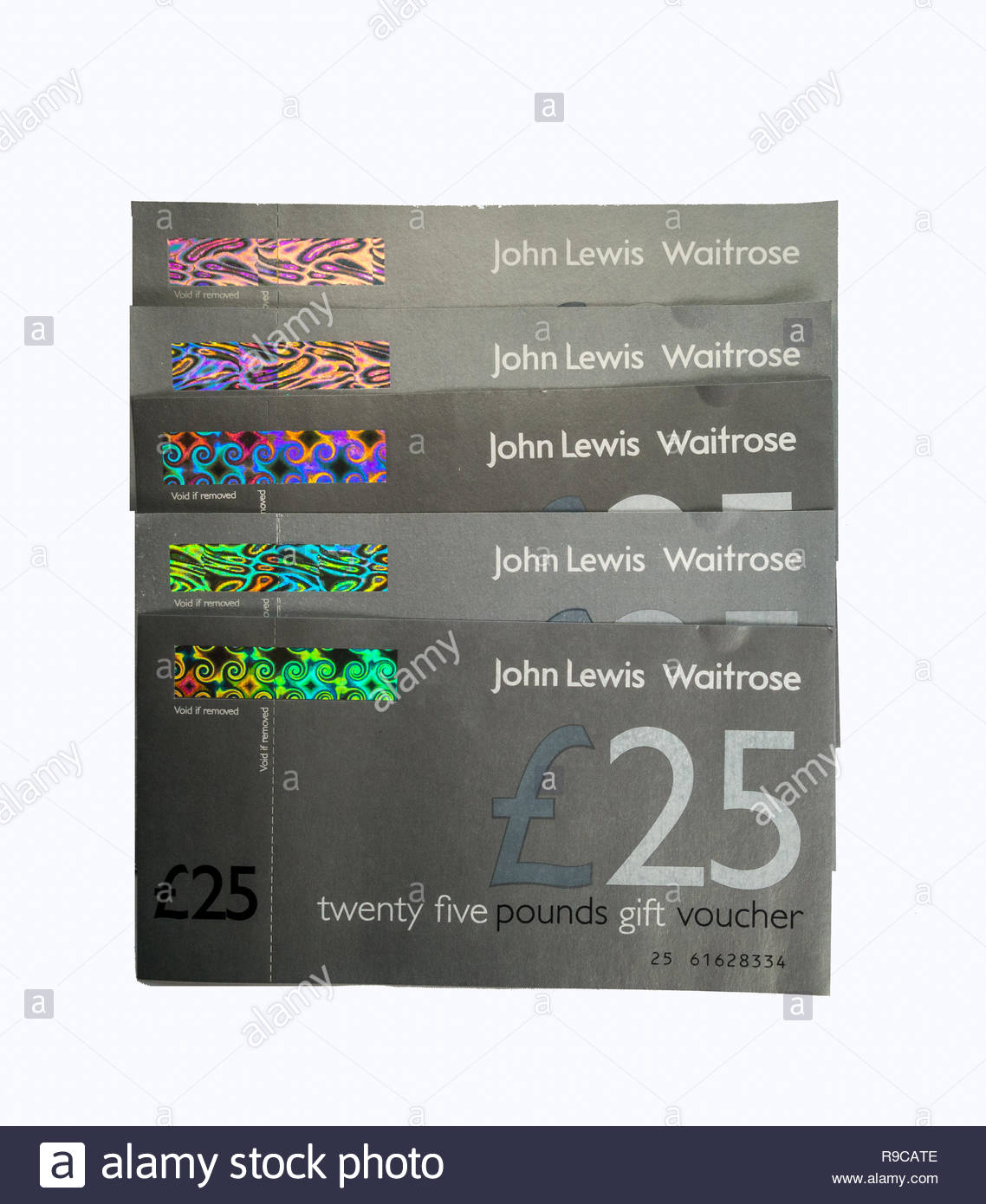 John Lewis and Waitrose gift vouchers given as a reward for spending on the JLP Partnership Credit Card - Stock Image