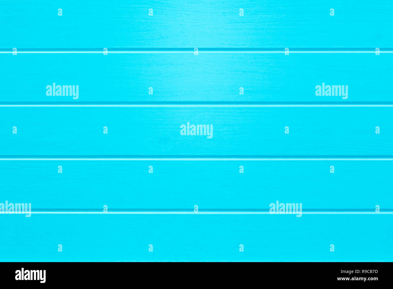 Empty Blue colored horizontal wooden planks background - Stock Image