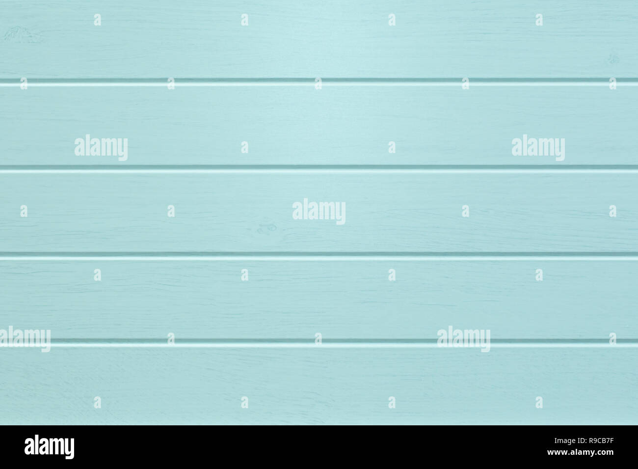 Empty Turquoise colored horizontal wooden planks texture background - Stock Image