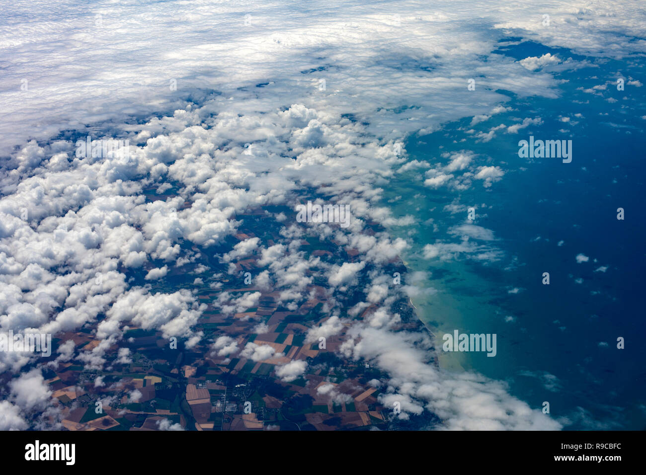 france french north coast view from airplane - Stock Image