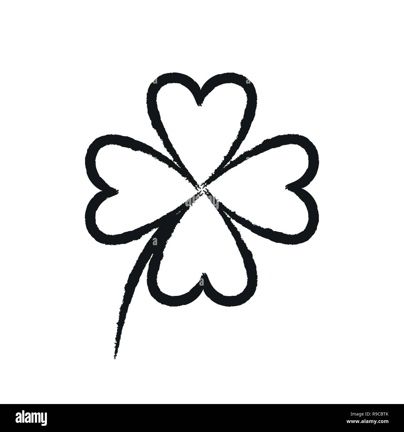 simple four-leaf clover drawing on white background vector illustration EPS10 Stock Vector