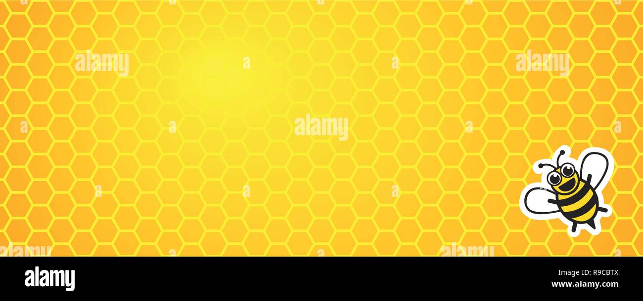 yellow honeycomb background with honey bee vector illustration EPS10 - Stock Vector