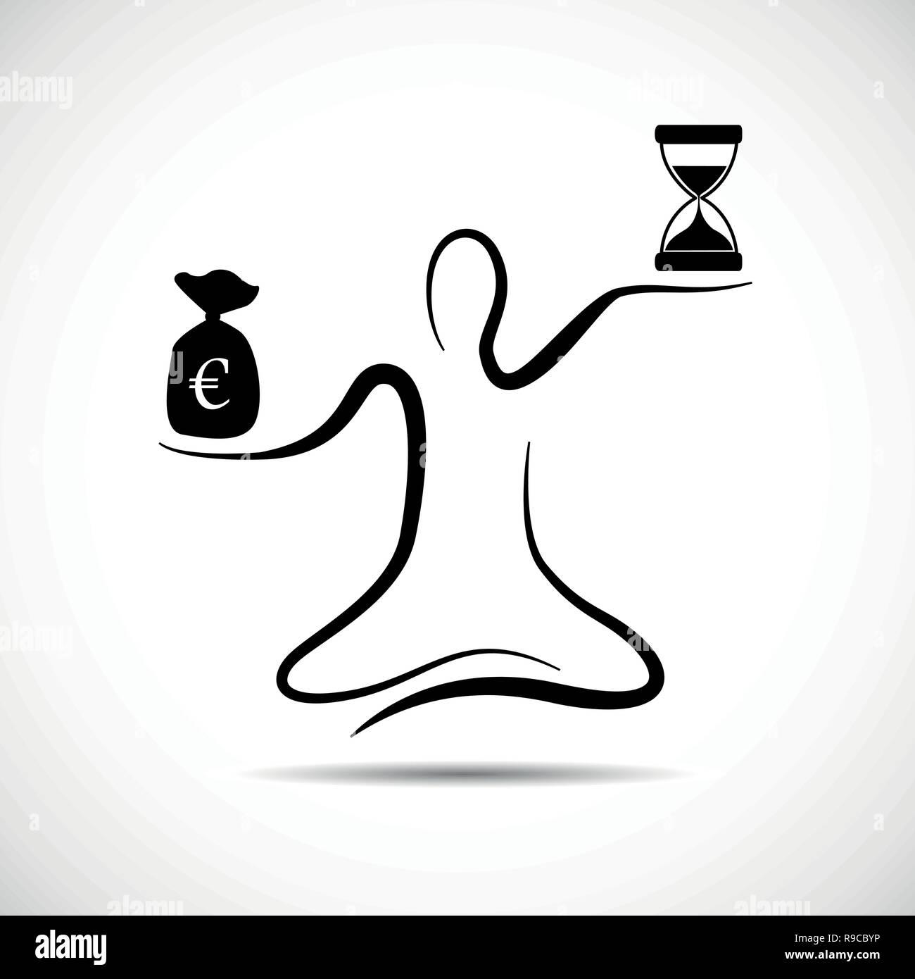 more time less money meditation vector illustration - Stock Vector