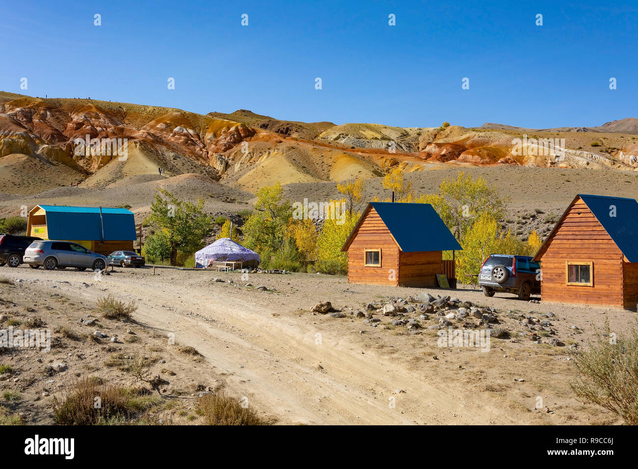 Tourist Parking Mars1 in the valley of the river Kyzyl-Chin, Altai Republic - Stock Image