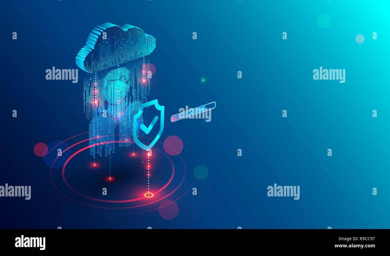 Secure privacy data in internet. Symbol of shield protections of icon man, which consists digit code. The protection of personal data in cloud storage. Cyber security tech concept. - Stock Image