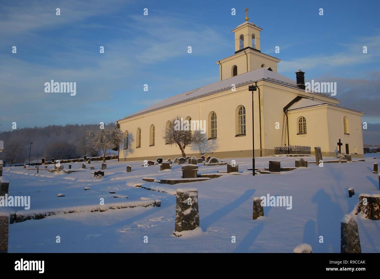 church in sweden höga kusten nordingra high coast - Stock Image