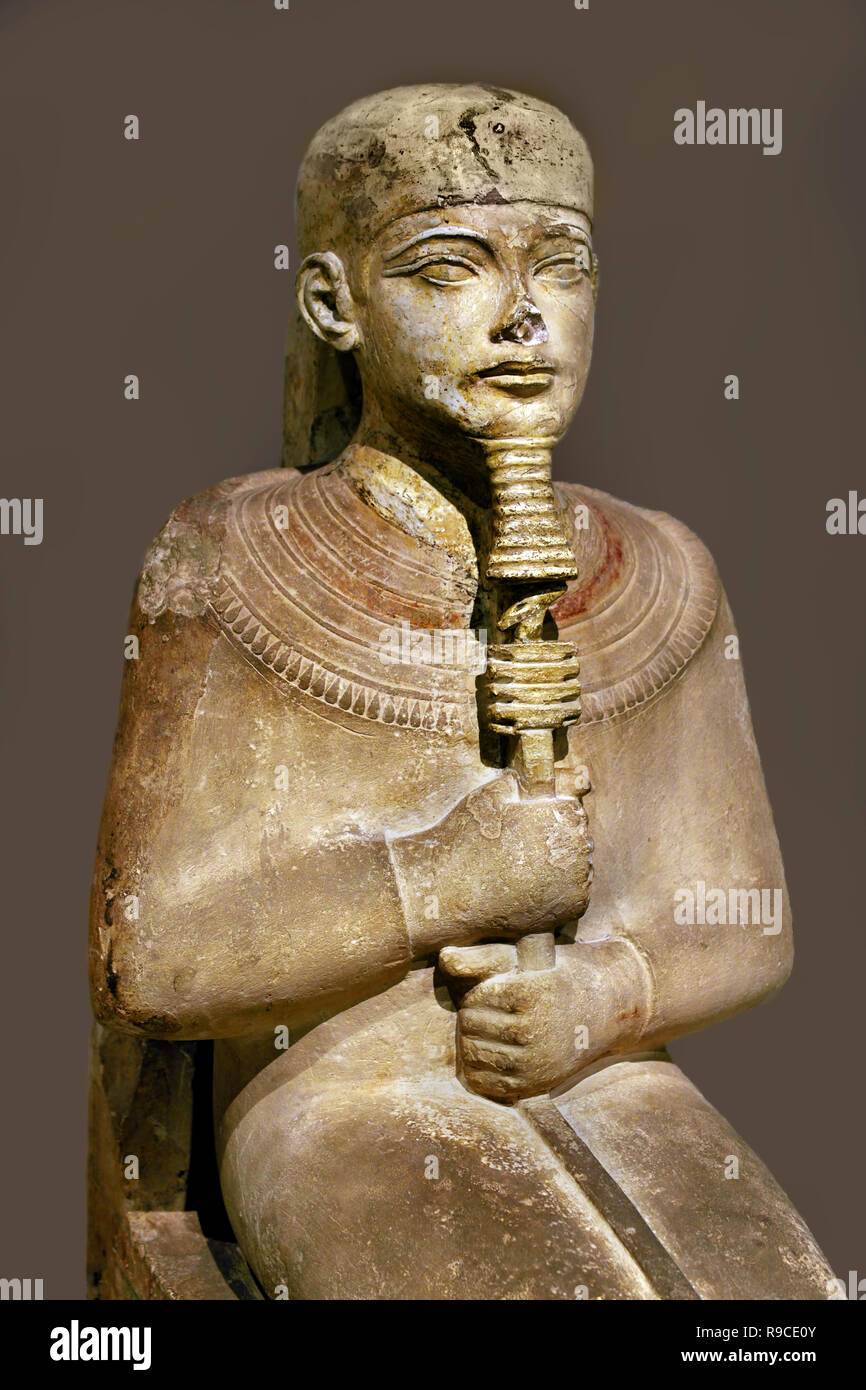 Egypt, Egyptian.The creator god Ptah with in his hands the gods staff and the symbol of sustainability. Throne of Pharaoh Amenhotep III. New Empire 18th Dynasty (1390-1353 BC) Egypt, Egyptian. - Stock Image