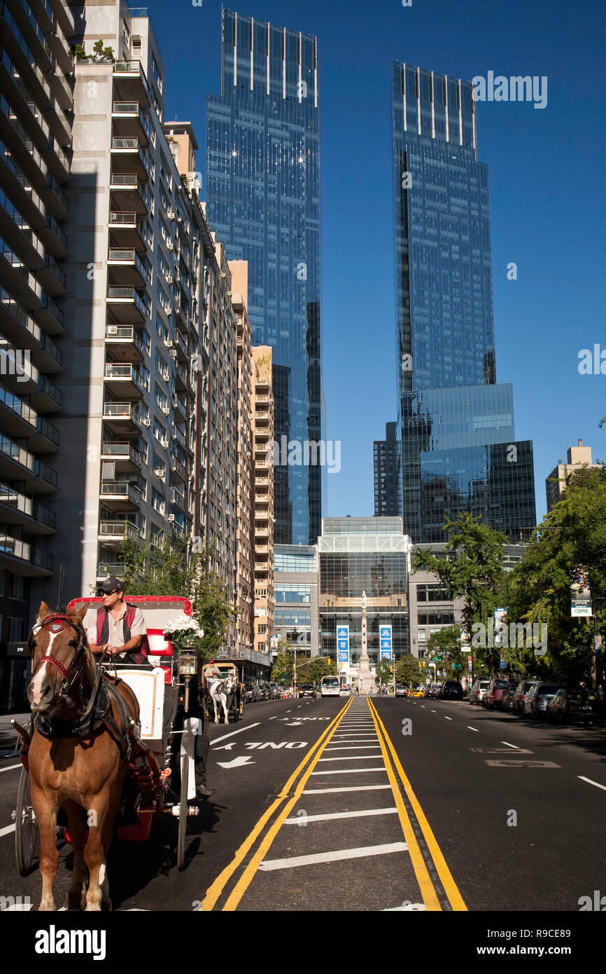 W 59th Street Runs Along Central Park And Leads To The Time Warner Center In Columbus Circle NYC USA