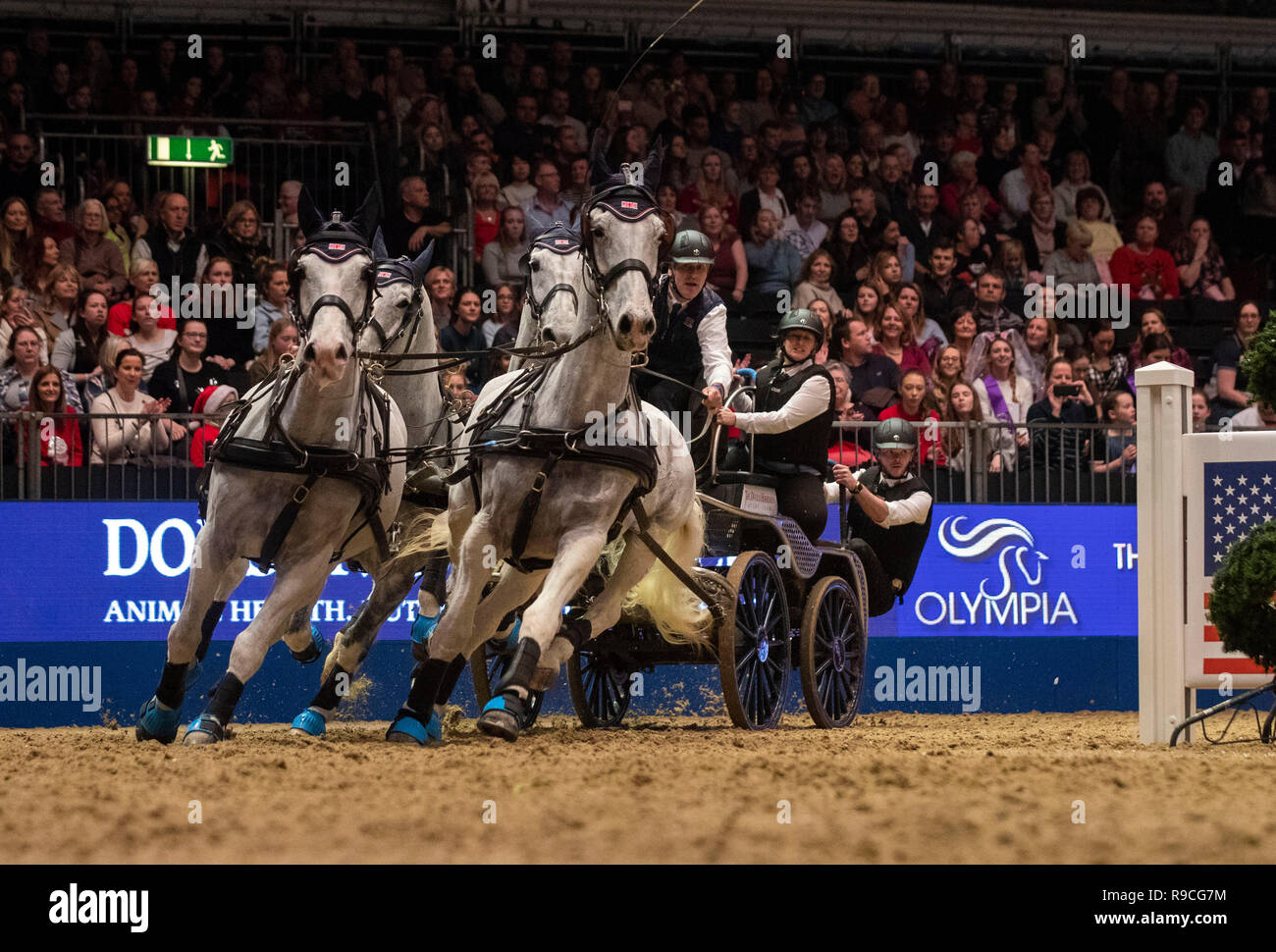 Great Britain's Daniel Naprous competes in the FEI Driving World Cup leg during day six of the London International Horse Show at London Olympia. - Stock Image