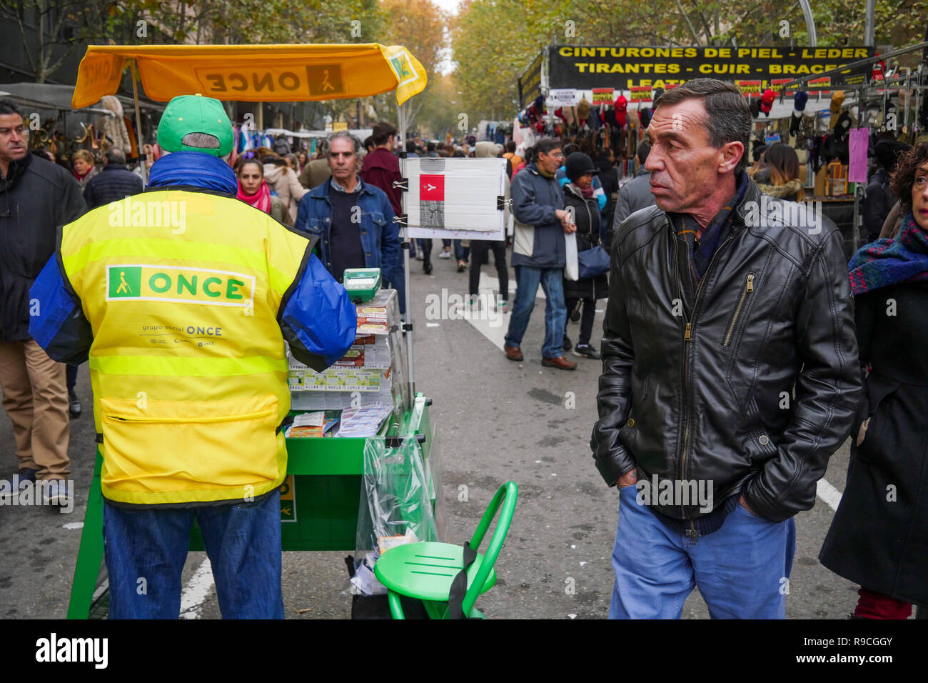 ONCE lottery tickets seller, El Rastro Flea Market, Madrid, Spain - Stock Image