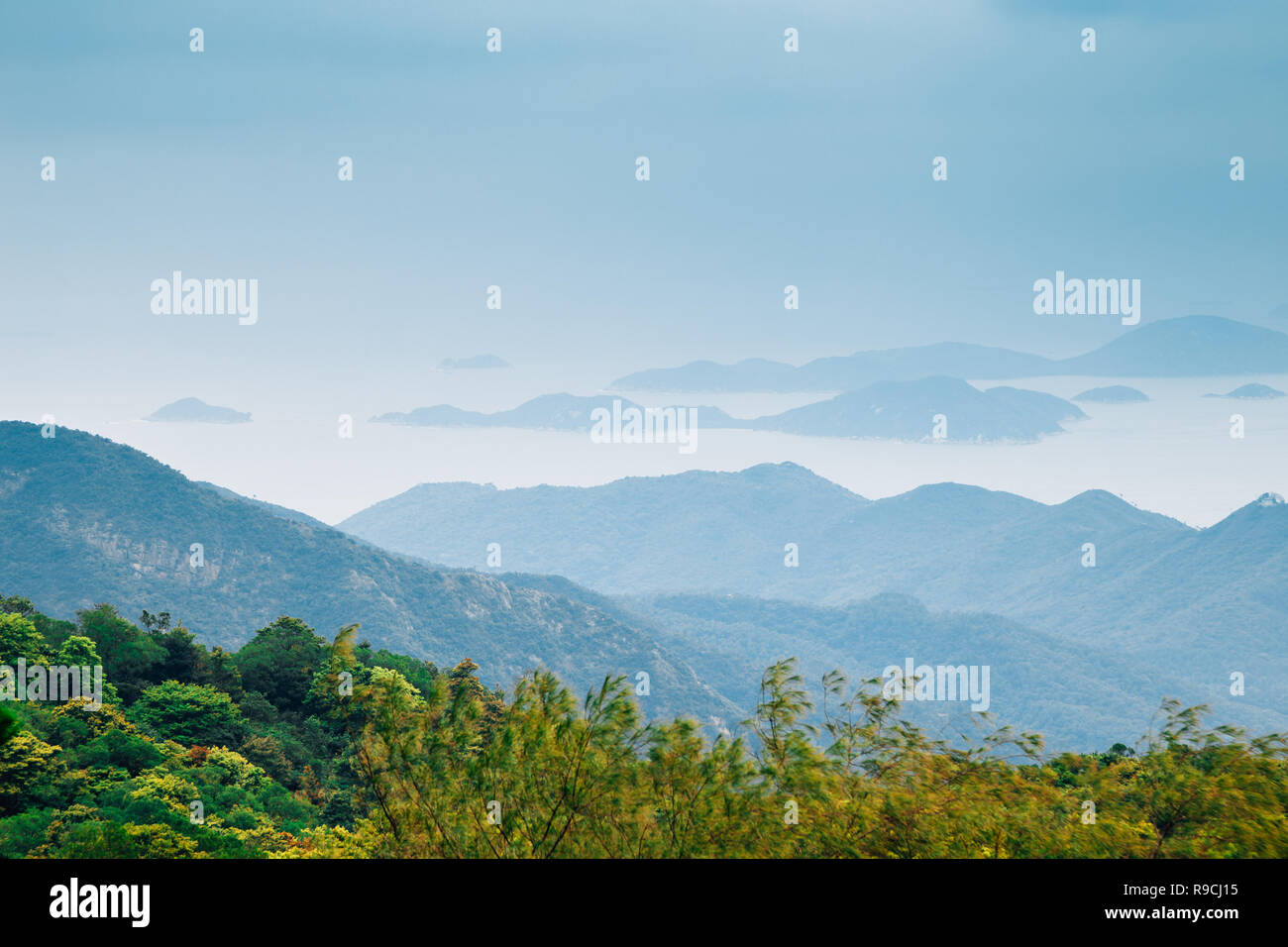Sea and island from Po Lin Monastery in Hong Kong - Stock Image