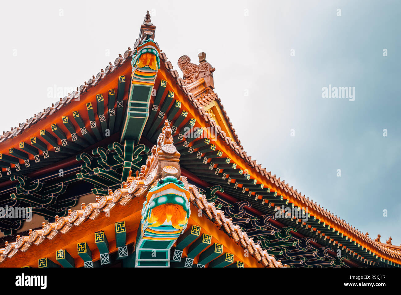 Chinese traditional roof at Po Lin Monastery in Lantau Island Hong Kong - Stock Image