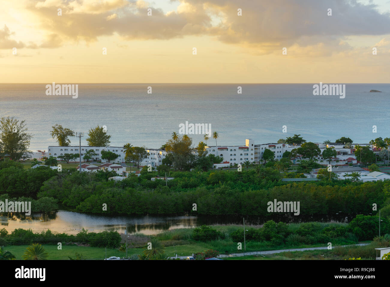 Jolly Beach Resort at sunset in Antigua. - Stock Image