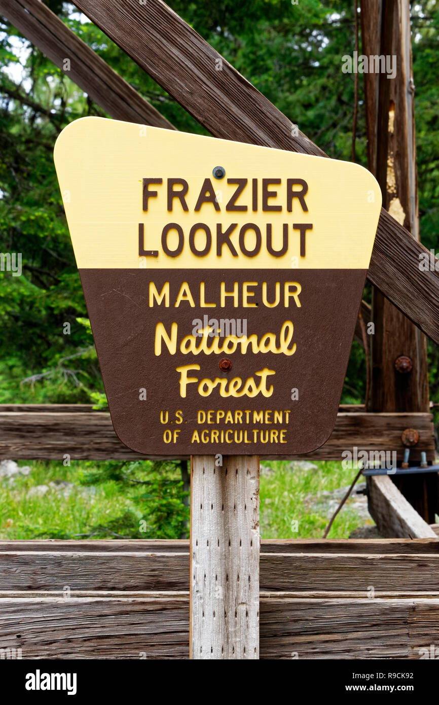 42,896.03805 USFS Department of the Interior, Malheur National Forest historic fire lookout Sign, Frazier Lookout, Oregon USA - Stock Image