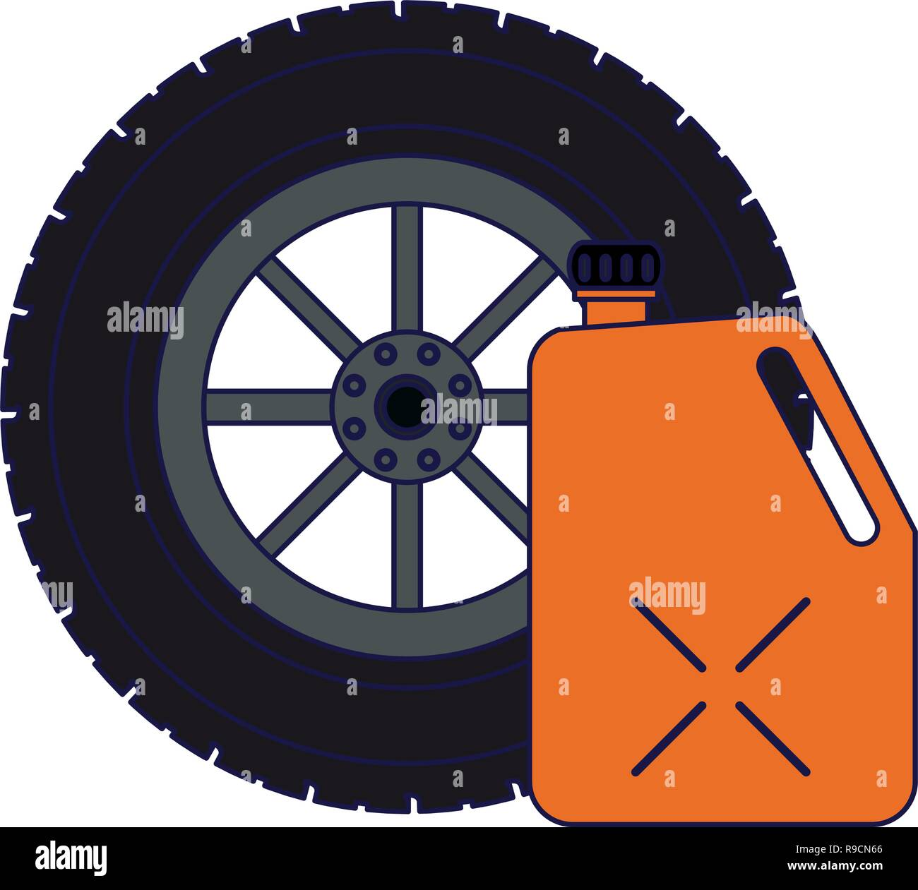 Tire wheel and container - Stock Vector