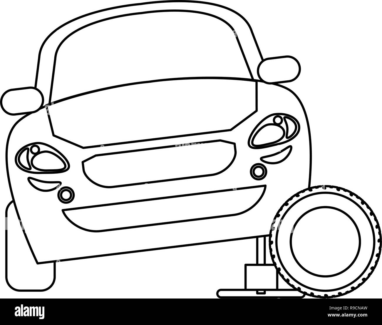 Car on hydraulic with tire wheel in black and white Stock Vector