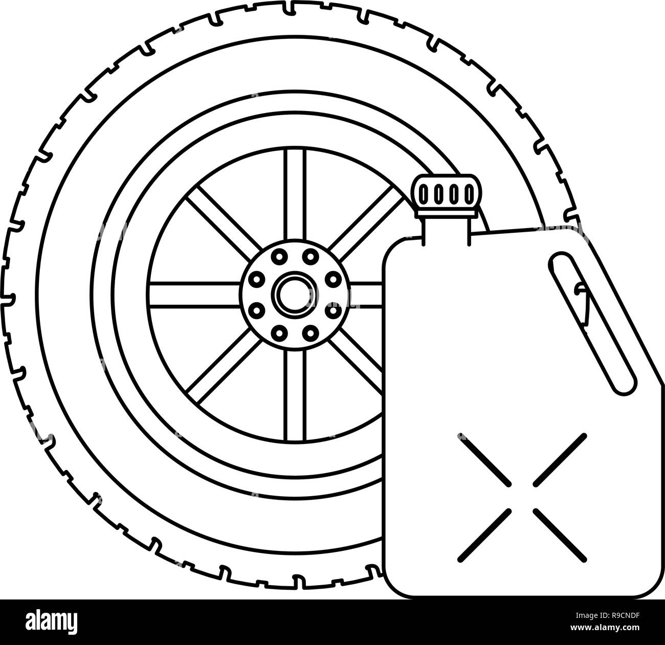 Tire wheel and container in black and white Stock Vector