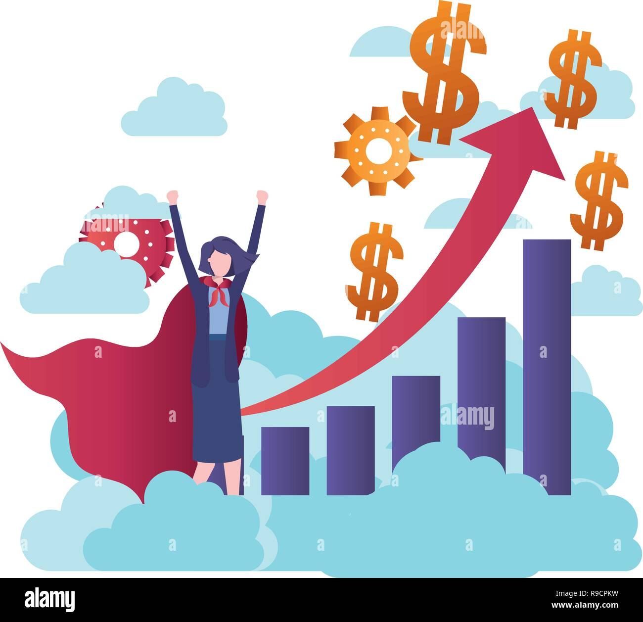 businesswoman with hero and graph with arrow - Stock Vector