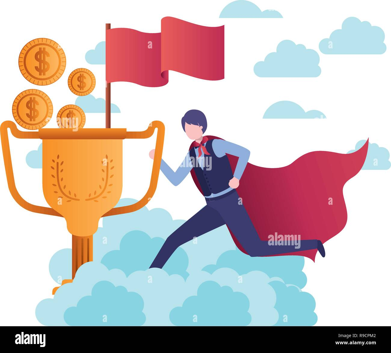 businessman with hero cape and trophy - Stock Image