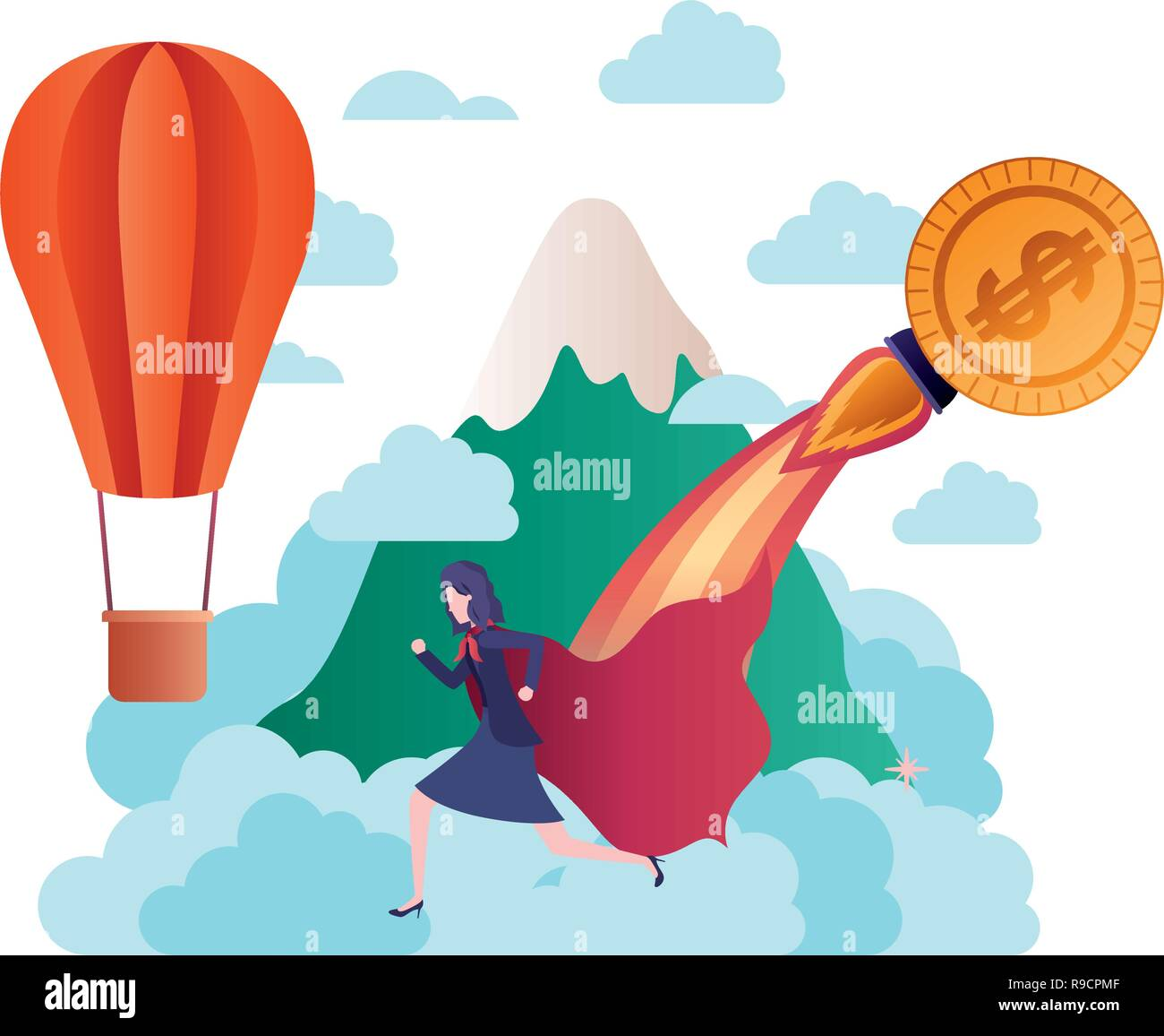 businesswoman with hero cape and mountain - Stock Image