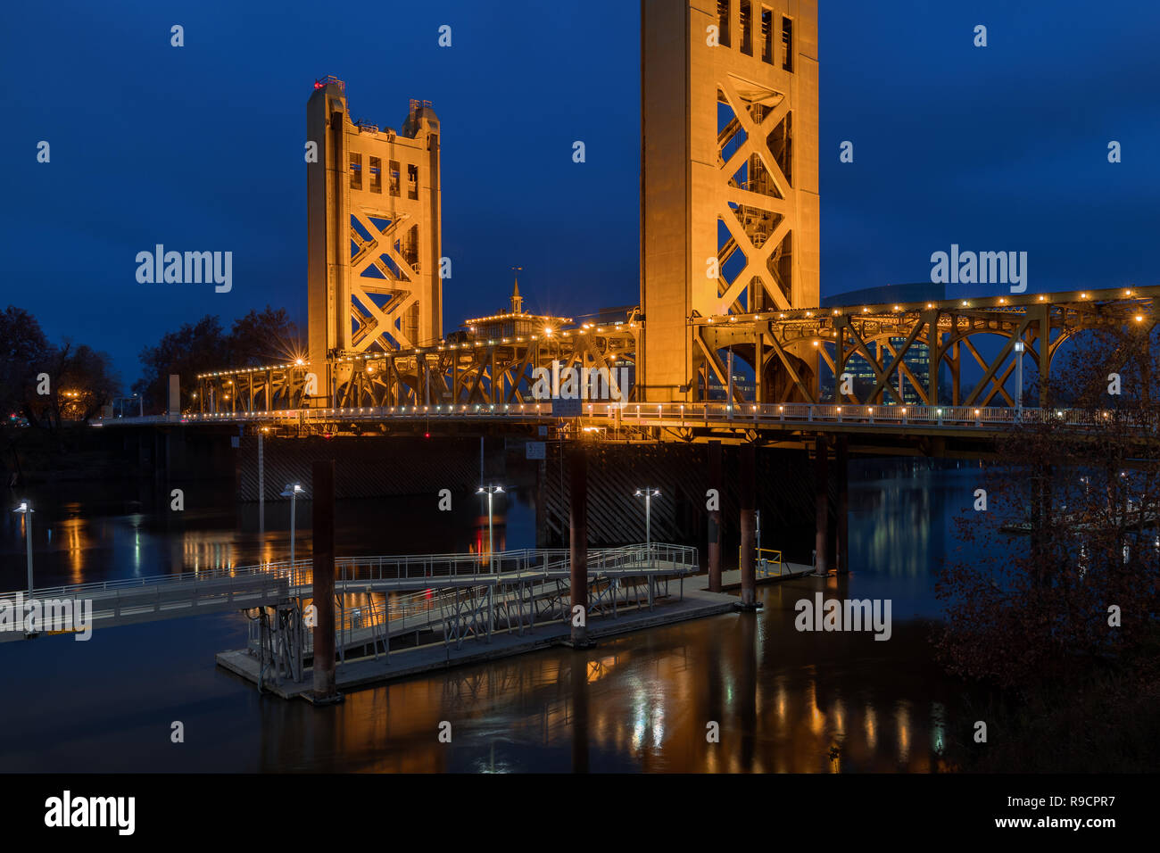 Tower Bridge at twilight in Sacramento, California - Stock Image
