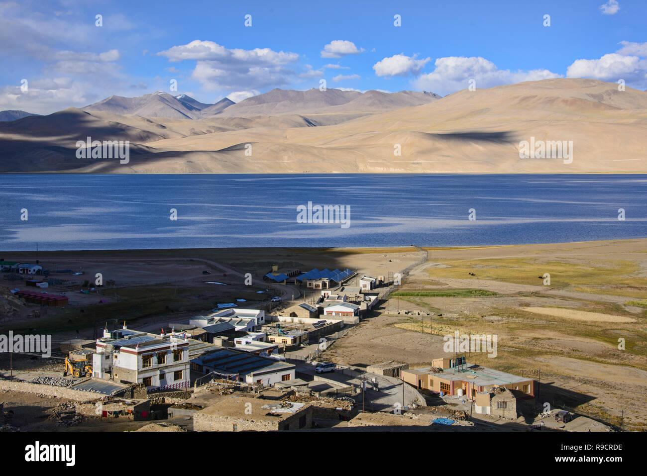 Tso Moriri Lake and Korzok village, Ladakh, India - Stock Image