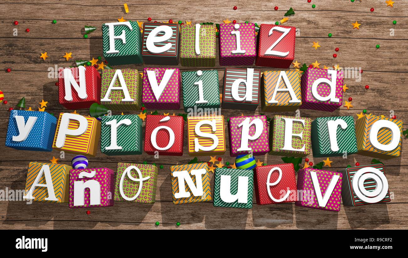 Greeting card: Feliz Navidad y Prospero Ano Nuevo, White letters on colored gift boxes on wooden table forming the message. 3D rendering - Stock Image