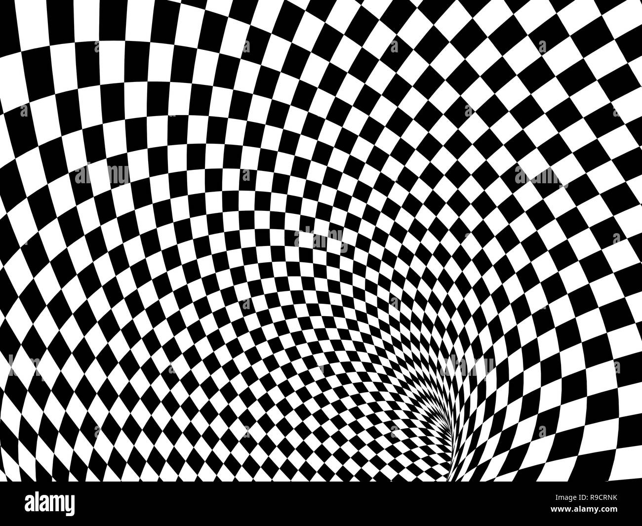 Abstract illusion. Black and white - Stock Image