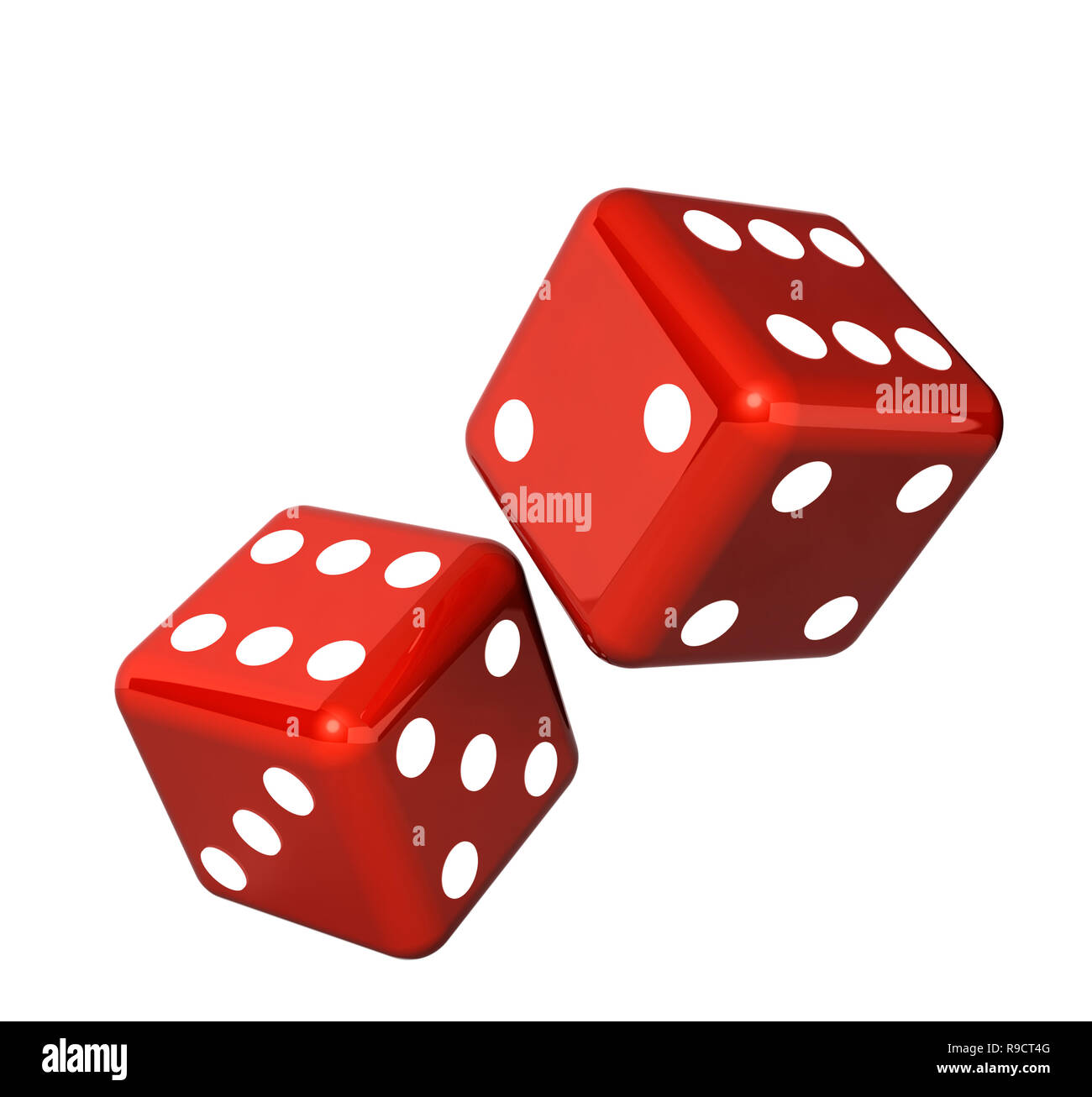 Falling red dice for gambling. Isolated on white background Stock Photo