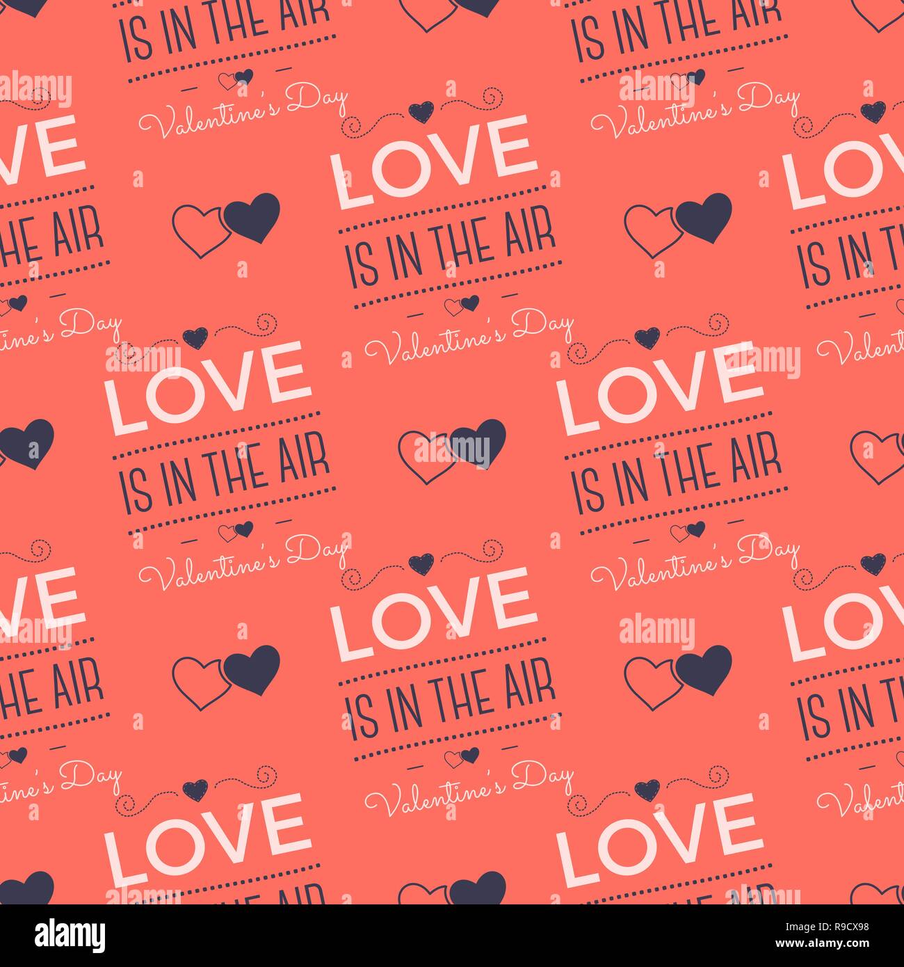 Valenines Day Pattern Love Is In The Air Typography Quotes And