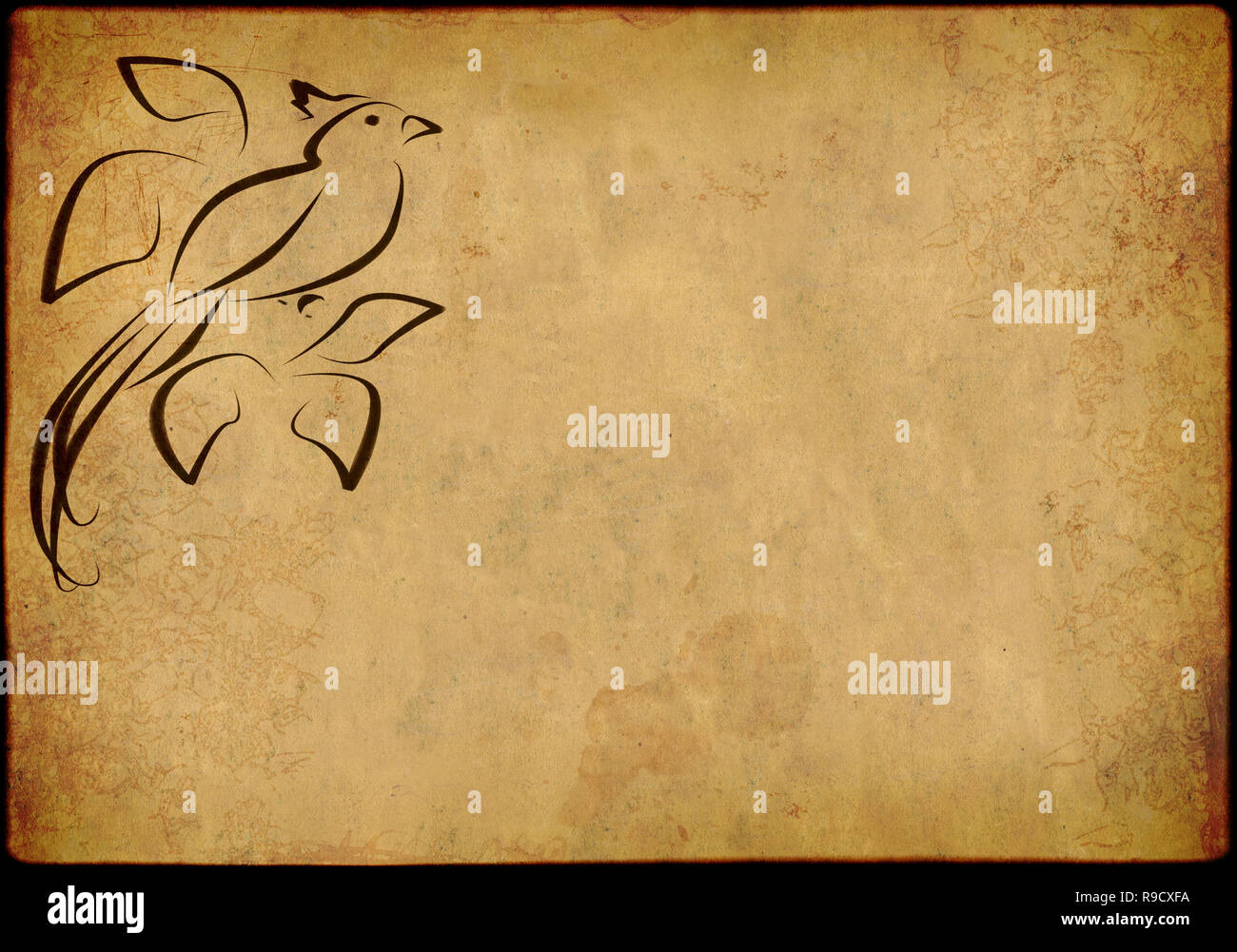 Background in style of an ancient Japanese engraving Stock Photo