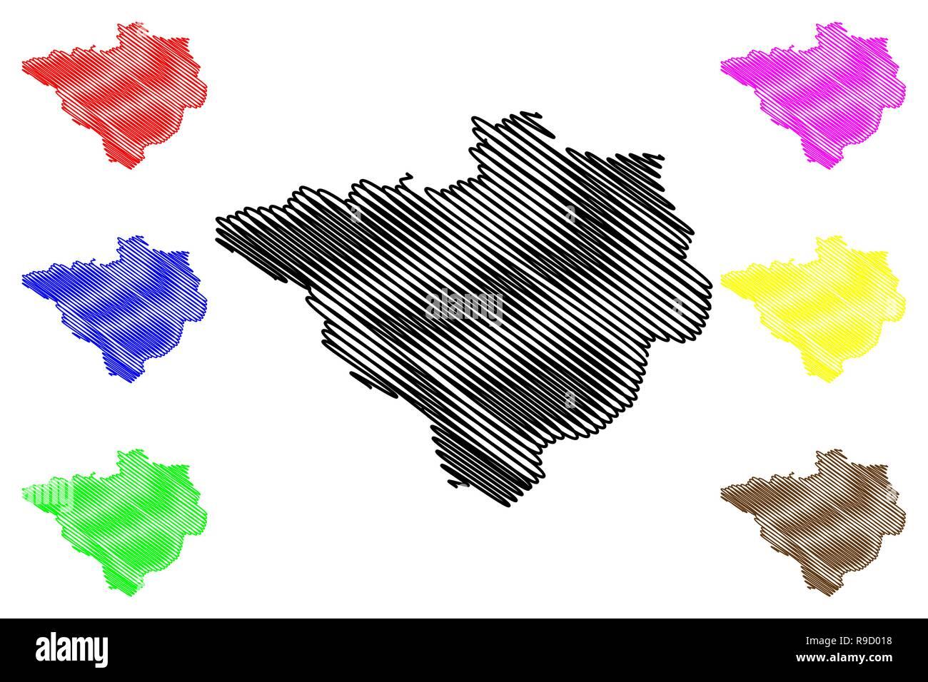 Yozgat (Provinces of the Republic of Turkey) map vector illustration, scribble sketch Yozgat ili map - Stock Image