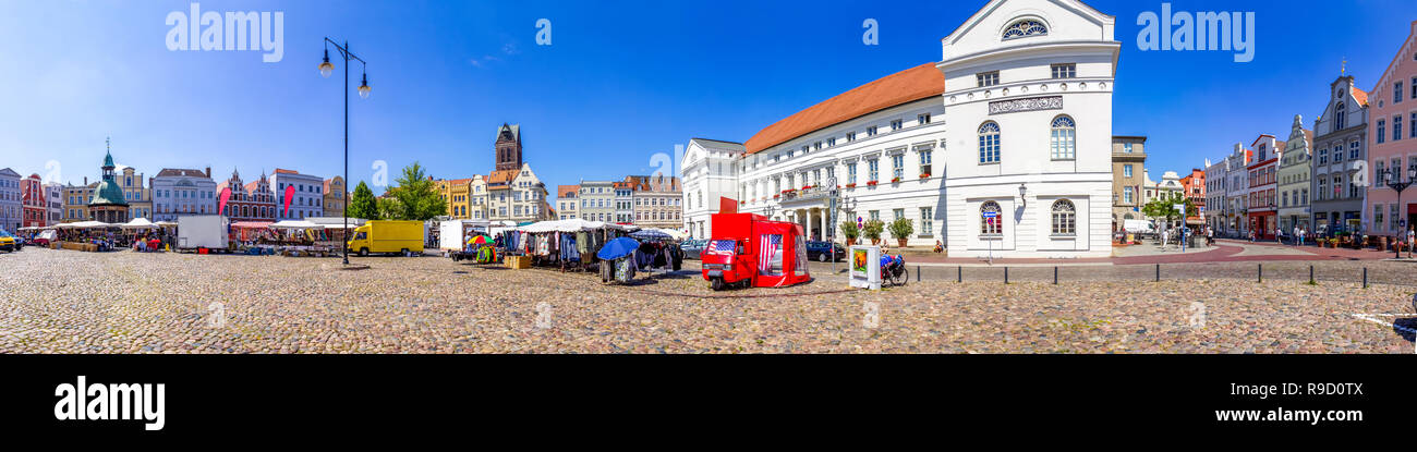 Market, Wismar, Germany - Stock Image