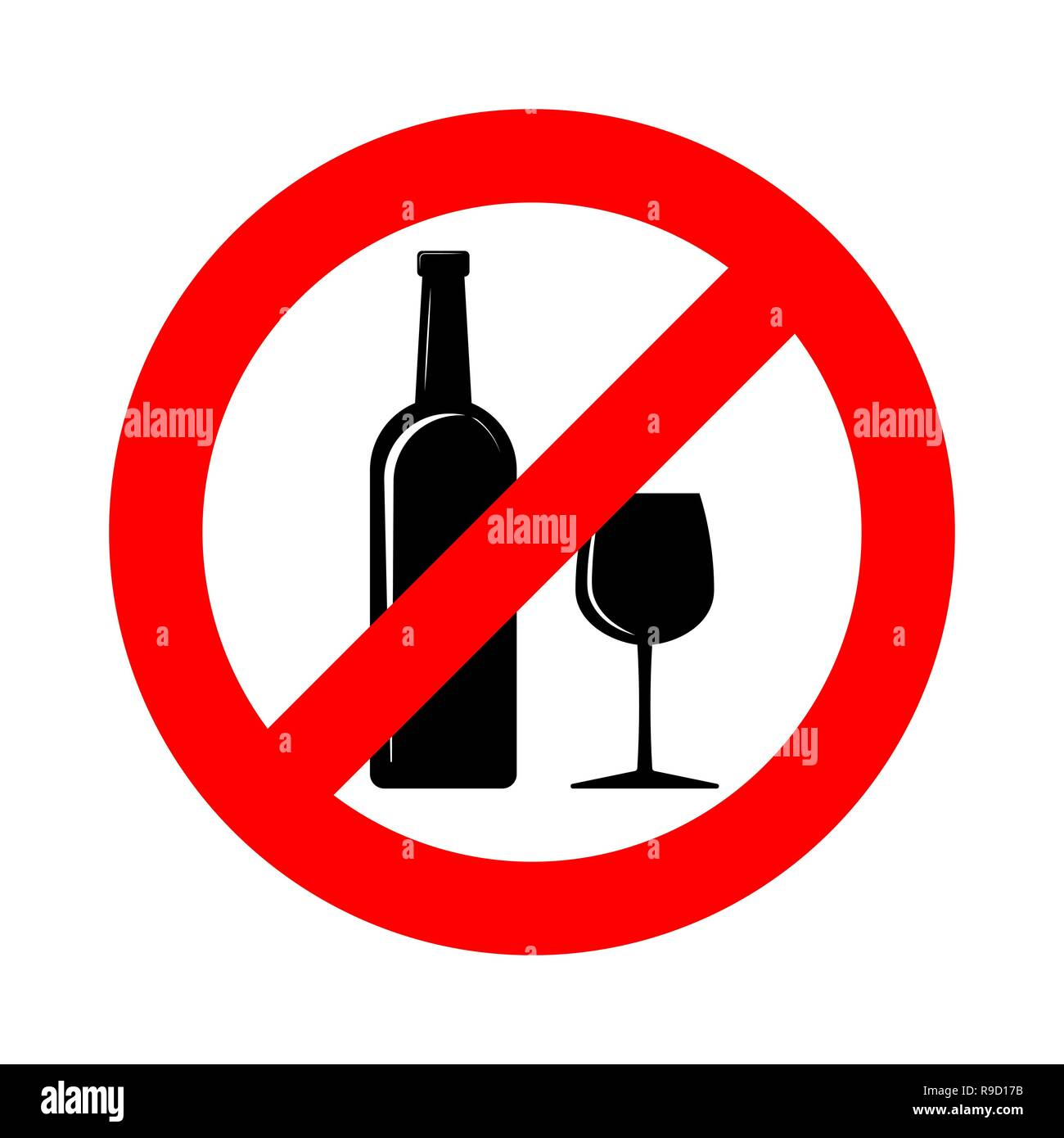 No alcohol sign. Vector illustration. Prohibition sign for alcohol. No alcohol drink sign Stock Vector